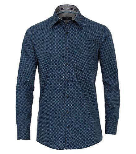 Casa Moda - Comfort Fit - Langarm Hemd mit modischem Druck und Kent-Kragen (483016900), Größe:XL, Farbe:Aqua bis Petrol (150)