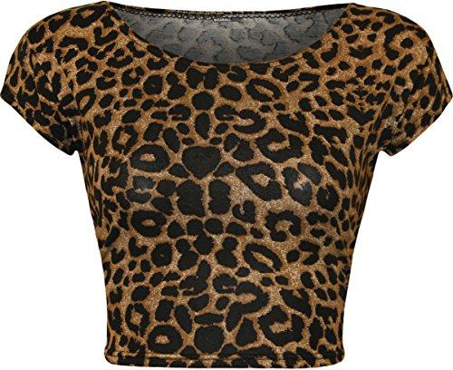 WearAll - Mujeres Stretch Camiseta Imprimir Corto Recortada Top - Marrón Leopardo - 36-38
