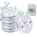 Flintronic Luces Led Sumergibles, 4Pcs 13Led RGB Multi Cambio De Color Piscina Luz Led Impermeable,Rf Control Remoto Bajo El Agua Luz Para Base de Florero,...
