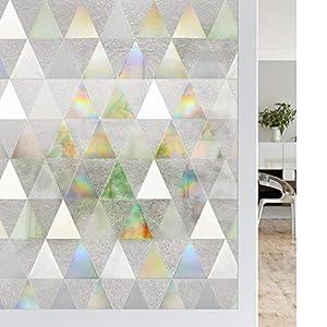 Rabbitgoo ステンドグラス シール 窓ガラス 目隠しシート 窓用フィルム 水だけで貼る 何度も貼り直し可 窓ガラスフィルム uvカット 飛散防止 リメイク おしゃれ 三角パターン 44.5x200cm