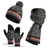 DWQ Sombrero de Invierno Beanie Sombrero cálido Bufanda y Guantes de Pantalla táctil para Hombres y Mujeres Invierno Regalo cálido (Color : Black)
