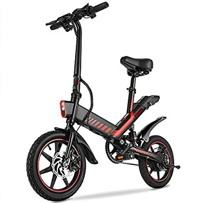 Electric Bike, Sailnovo 350W Electric Bikes for Adults Teens Electric Bicycle E Bike with Pedals, 14inch Waterproof Folding Mini Bikes with Dual Disc Brakes, 36V 10Ah Lithium-Ion Battery