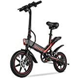Electric Bike, Sailnovo Electric Bicycle with 15.6mph 28 Miles Electric Bikes for Adults Teens E Bike with Pedals, 14' Waterproof Folding Mini Bikes with Dual Disc Brakes, 36V 10.4Ah Lithium Battery