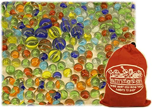 Deluxe 4 Pounds (300+ Count) of Cat's Eyes Marbles & Shooters with Exclusive Matty's Toy Stop Storage Bag