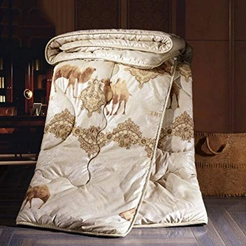 JXING Duvet 100% Camel Hair Filler Polyester Fabric Warm Quilt Anti Dust Mite Down Soft Touch Lightweight Winter Quilt Suitable for Home Use