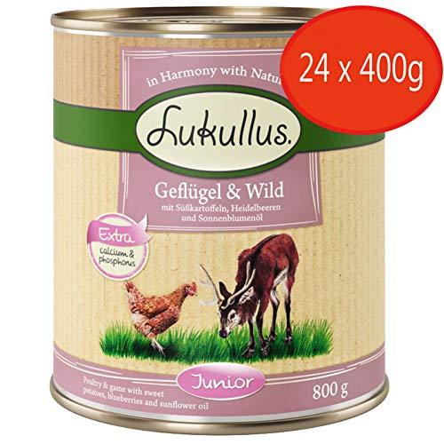 Lukullus Junior Sparpack 24 x 400 g – Geflügel & Wild