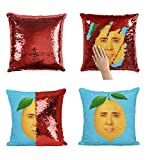 Lemon Nicolas Cage Face P113 Sequin Pillow, Cuscino, Sequin Pillowcase, Federa, Two Color Pillow, Gift for Him Her, Magic Pillow, Mermaid Pillow Cover, Regalo di Natale [Cover Only]