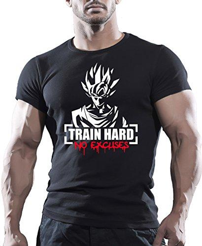 "Arubas-uk, Bodybuilding-Motivations-T-Shirt - Goku-Motiv ""Train Hard No Excuses"" Gr. L, Schwarz"