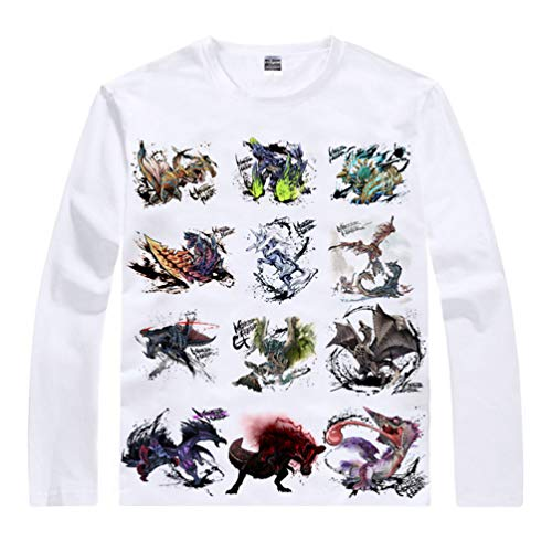 WANHONGYUE Anime Monster Hunter T-Shirt Camiseta de Manga Larga Cosplay Disfraz Pullover Suéter Tops Sweat Shirt para Hombre Mujer Blanco/12 S