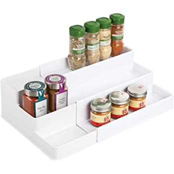 mDesign Plastic Kitchen Spice Rack White Food Storage Organizer 4 Levels