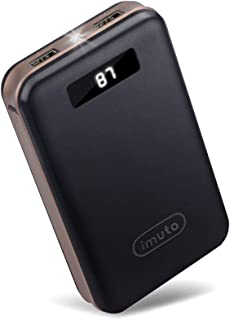 iMuto 20000mAh Portable Charger Compact Power Bank External Battery Pack with LED Digital Display and Smart Charge for iPhone X 10 8 7 6S Plus, Samsung Galaxy S8, S7, Note8, Tablets and More (Black)