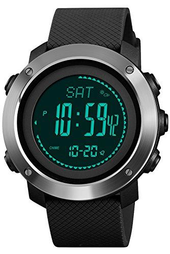 Findtime Herrenuhr Digital Quarz Silikon Kompass Schrittzähler Barometer Höhenmesser LED Countdown Thermometer Militär