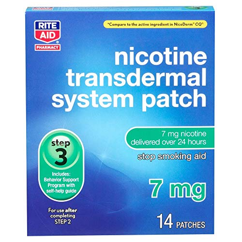 Rite Aid Nicotine Patch - Step 3 | 7 mg - 14 Count | Quit Smoking Patches | Smoking Aid to Quit Smoking | Nicotine Transdermal System Patch