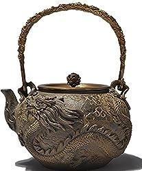 powerful RUIKA Japanese Cast Iron Teapot Iron Tetsubin Cast Iron Teapot Dragon and Phoenix Pattern Teapot 1400ml Wooden Teapot 48oz…