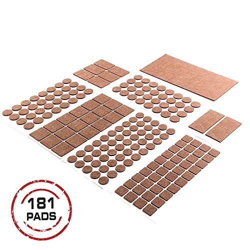 Heavy Duty Self ADHESIVE FURNITURE PADS-Brown.Your Best Wood Floor Protectors. ULTRA LARGE Pack 181 pcs./Floor protectors/Hardwood Floor Protector.Best Felts Wood Floor Protectors.ALL POPULAR SIZES