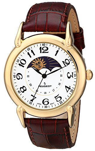 Peugeot Men's 14k Gold Plated Dress Watch - Vintage with Lunar Window and...