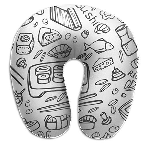 Ahdyr Almohada de Viaje en Forma de U Jepaness Food En Forma de U Almohada de Viaje en U Almohada para el Cuello Almohada Salud Almohada en U Suave con Material Resistente para Hombres/Mujeres