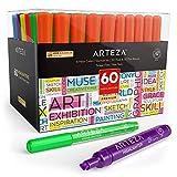 Arteza Subrayadores de colores | Pack de 60 | Marcadores fluorescentes de punta ancha y estrecha | Colores surtidos | Rotuladores fluorescentes para niños y adultos