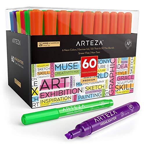 Arteza Subrayadores de colores   Pack de 60   Marcadores fluorescentes de punta ancha y estrecha   Colores surtidos   Rotuladores fluorescentes para niños y adultos