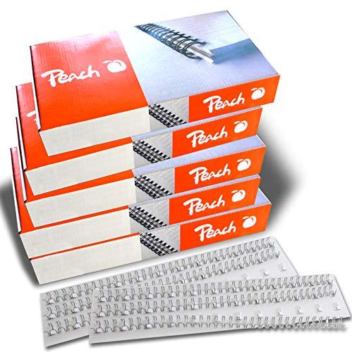 Peach Easy-Wire PW079-10P - Canutillos para encuadernación (3:1, 34 anillas, A4, 500 unidades, 8 mm), color plateado