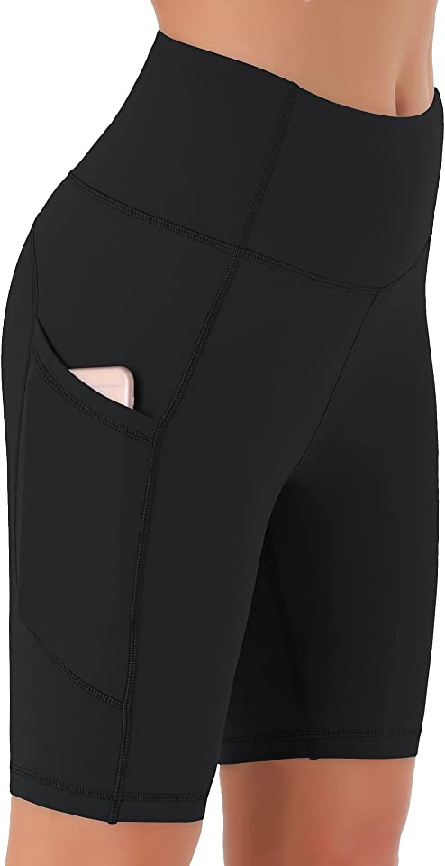 Damen Kurze Leggings, Blickdicht Radlerhose mit Taschen