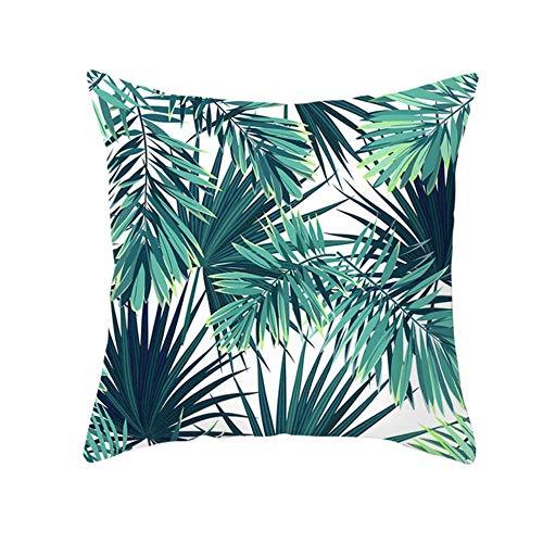Tings Zomer Tropische planten Decoratieve kussensloop Groene bladeren Sierkussenhoes Polyester bedrukking kussensloop, 4,450 * 450 mm
