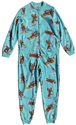 Nick & Nora Women's Sock Monkey Fleece One Piece Zip Front Pajamas