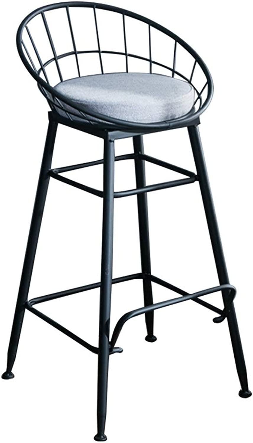 Barstools Chair High Stool Bar Stool Breakfast Chair and Cushion Seat Back Comfort Kitchen Breakfast Counter Greenhouse Black (Size   48x48x85cm)