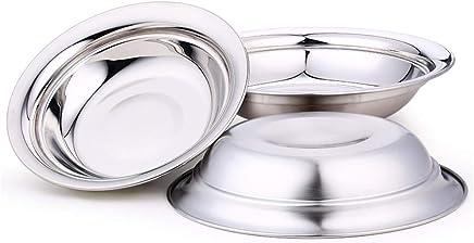 Nizzco 20,1 cm Edelstahl Rund Teller-Set für Camping Outdoor, Serviertablett, Gericht, Küche Abendessen Teller, 3 Stück B071PB4WJD   Zuverlässige Leistung