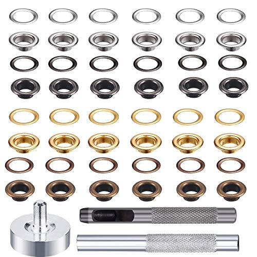 Ösen-Set, Metallösen-Set mit 3-teiligem Werkzeugset und Aufbewahrungsbox für Bastelarbeiten, 4 Farben, 400 Stück
