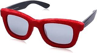 نظارة شمس بعدسات شبه مربعة رمادي وشنبر قطيفة للنساء من ايطاليا انديبندنت - احمر