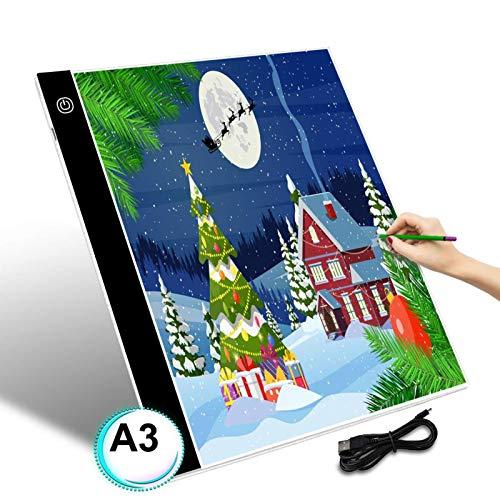 GEMITTO A3 Mesa de Luz de Dibujo LED Tableta de Luz de Iluminación de la Caja con Brillo Ajustable y Panel Táctil Inteligente para Artistas, Dibujo Infantil, Pintura Arquitectónica, 40x33,5x0,5cm