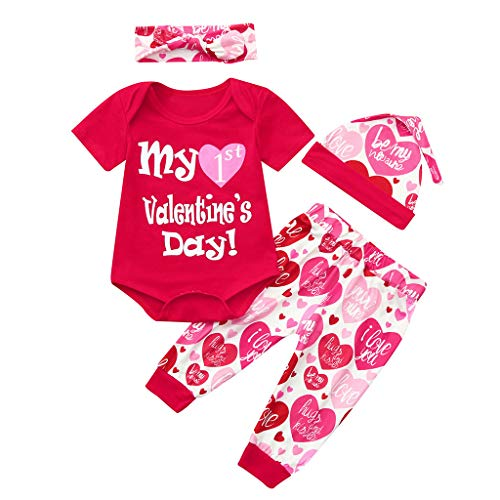 Poachers Poachers Infant Baby Valentinstag Brief Print Romper + Hosen + Mütze + Stirnbänder Outfits Set