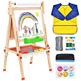 BATTOP Deluxe Wooden Art Easel Kids Double Sided Chalkboard Painting Easel for Children Toddlers, Height Adjustable, Paper Roller