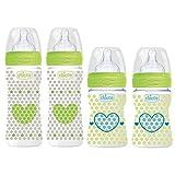 Chicco Antikolik Flaschen Set Uni, Babyfläschchen 4er Pack ab Geburt bis 6 Mo.'Mama-Effekt' Silikon Sauger 0m+ & 2m+, 2 x 150 ml & 2 x 240 ml, Made in Italy
