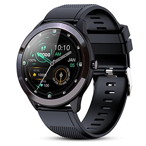 Gokoo Smart Watch 1.3-Zoll Full Touchscreen Fitness Tracker Uhr mit Pulsmesser Kalorienschrittzähler Anrufnachricht Benachrichtigung IP68 Wasserdichte Sportuhr Smartwatch für Männer Frauen iOS Android