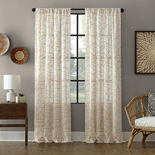 Archaeo Fragmented Geometric Embroidery Mid-Century Modern Natural Blend Curtain, 50u0022 x 95u0022 Panel, Gold/Linen,54891