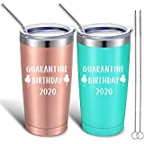 2 Pieces Funny Quarantine Birthday 2020 Gift, Happy Quarantine Birthday Mug Tumbler for Women Men Friends Colleagues, 20 oz Vacuum Insulated Stainless Steel Travel Mug Tumbler with Straw Lid and Brush