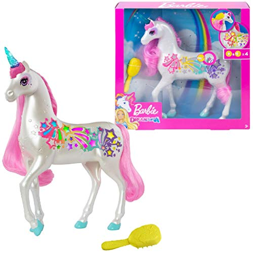 Barbie Dreamtopia Brush 'n Sparkle Unicorn with Lights and Sounds, White with Pink Mane and Tail, Gift for 3 to...