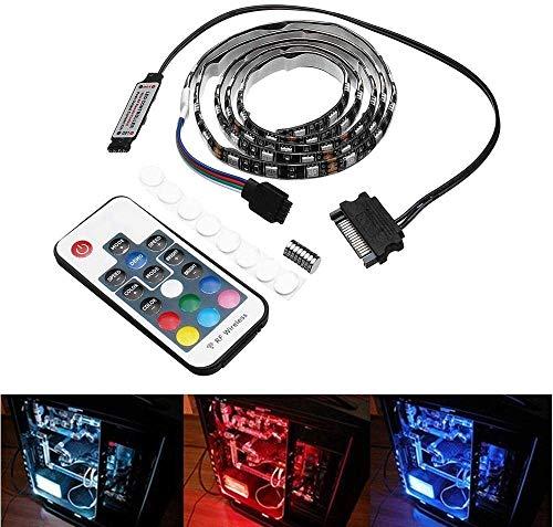 LED decoratief licht 0,5 m 1 m waterdicht 15Pin SATA Magnetic RGB LED strip licht + 17 Keys afstandsbediening voor PC behuizing DC 12 V (grootte: 1M) Elise