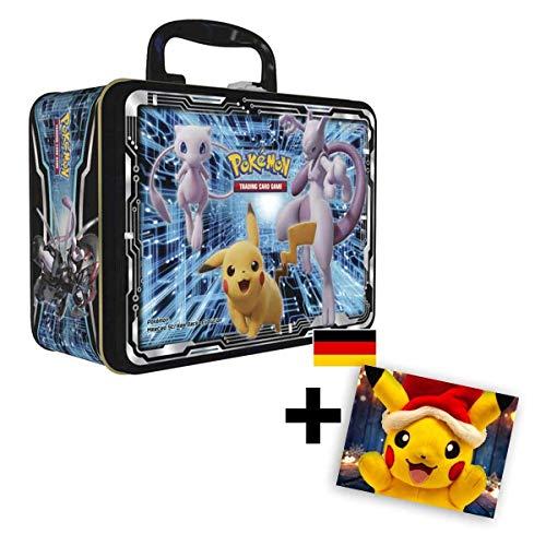Lively Moments Pokemon Karten Sonne & Mond - Sammelkoffer - Mew, Mewtu & Pikachu / Metall-Koffer DE Deutsch Sammelkarten + 1 GRATIS Grußkarte Weihnachtspikachu