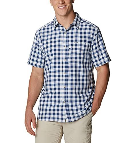 Columbia Camp Shirt Super Slack Tide - Camiseta de Campamento, Cuadros Palaka de Carbono, 2X (Alto) para Hombre