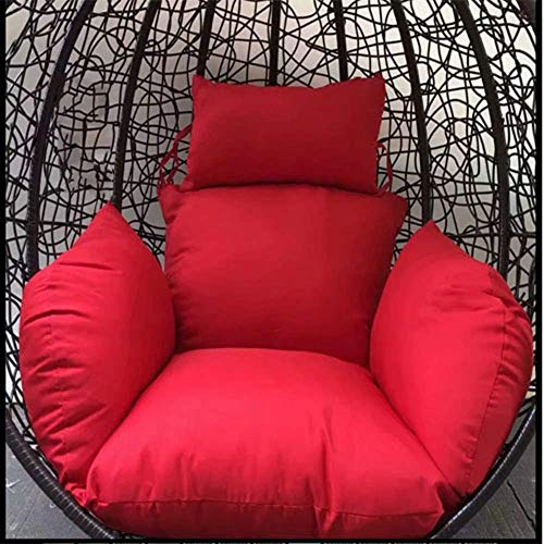 chair Swing Cushion,Hanging Egg Hammock Cushions, Breathable Swing Seat Cushion Thick Nest Pillow Pp Cotton Fillimg for Garden Patio-White,Colour:Red (Color : Red)