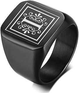 MPRAINBOW الرجال حرف واحد اسم خاتم التوقيع كوليج خاتم الأحرف الأولى للرجال الفرقة الأولية خاتم الرجال حلقة حرف دائرية، هدي...