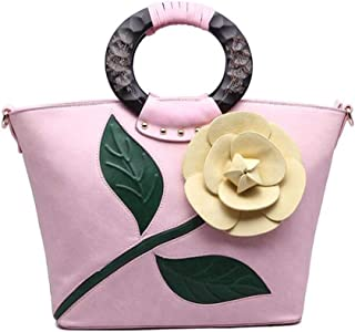 Trendy Lady Tote Bag Vintage Big Flower Tote Bag Fashion Dinner Tote Zgywmz (Color : Pink, Size : 31 * 14 * 28cm)