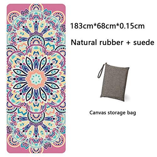 Yoga Mat Yoga Mat Printing Ultra-Thin Folding Non-Slip Cloth Towel Sweat-Absorbent Yoga Portable Travel Pad Pilates 183 Cm*68 Cm*0.15 Cm White