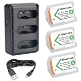 Newmowa NP-BX1 Replacement Battery (3-Pack) and 3-Channel USB Charger Set & Newmowa AGR2 Attachment Grip & Newmowa Screen Protector (2-Pack)