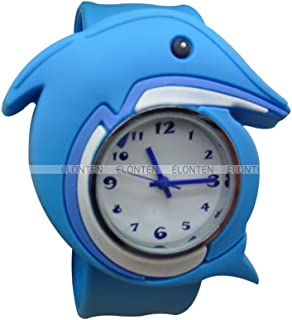 Cute Cartoon Slap Watch Dolphins Design with Bendable Silicone Strap Wristwatches for Children