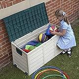 Arcón Exterior Outdoor Garden Storage Caja de almacenamiento de herramientas de jardín, Marrón Resistente a la lluvia Anti-UV Contenedor de plástico, Entrada al garaje del patio trasero Organizador de
