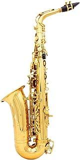 LADE Saxofón Eb E Latón Plana Patrón Tallado en Superficie de Plástico Boquilla Exquisito con los Guantes de Paño Limpieza Cepillo correas